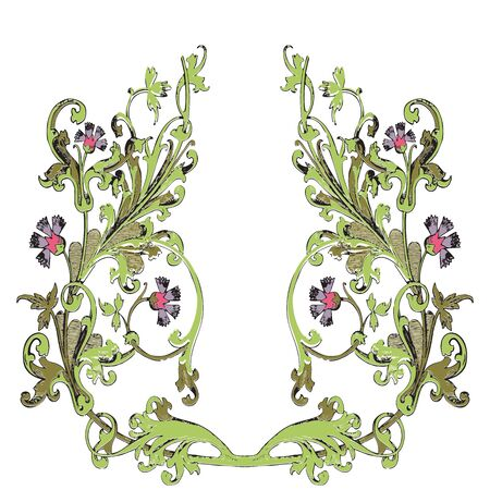 vegetal: Hand drawn illustration of twig with flowers and leaves Baroque vector. Cornflowers. Vegetal ornament round on wite background Illustration