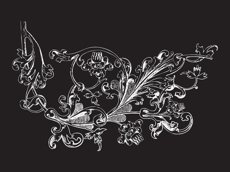 a twig: Hand drawn illustration of twig with flowers and leaves Baroque vector. Whimsical flowers. Vegetal ornament. Black and white colors Illustration