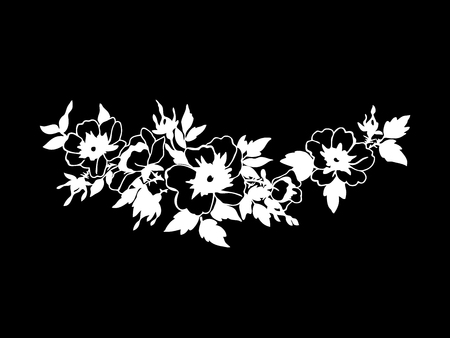 white blossom: Beautiful blossoming wild rose branch with white flowers. Hand drawn vector illustration. Black and white colors