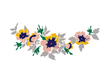 blossoming: Beautiful blossoming wild rose branch with colorful flowers. Colorful vector illustration on white background Illustration