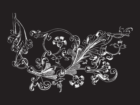 vegetal: Hand drawn illustration of twig with flowers and leaves Baroque vector. Cornflowers. Vegetal ornament. Black and white colors