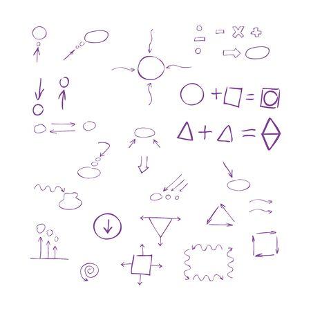 signos matematicos: Delgadas flechas dibujadas mano, hablar de burbuja, formas geométricas, signos matemáticos pintado pluma púrpura sobre fondo blanco. Bosquejo, de la. set vector.