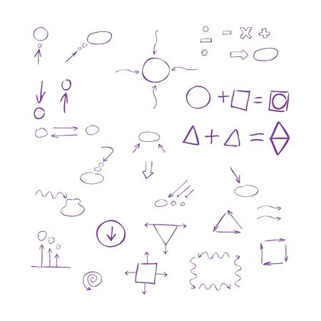 hand pen: Thin hand drawn arrows, talk bubble, geometric shapes, mathematical signs painted purple pen on white background. Doodle, sketch. Vector set.