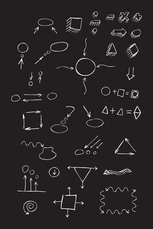 signos matematicos: Delgadas flechas dibujadas mano, hablar de burbuja, formas geométricas con sombra, signos matemáticos pintan la pluma blanca sobre fondo negro. Bosquejo, de la. set vector.