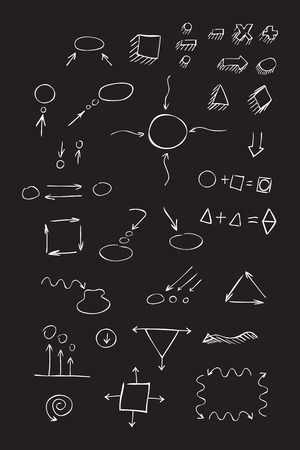 signos matematicos: Thin hand drawn arrows, talk bubble, geometric shapes with shadow, mathematical signs painted white pen on black background. Doodle, sketch. Vector set.