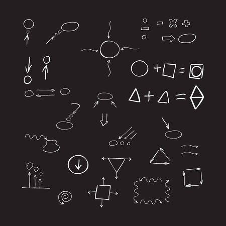 signos matematicos: Delgadas flechas dibujadas mano, hablar de burbuja, formas geométricas, signos matemáticos pintan la pluma blanca sobre fondo negro. Bosquejo, de la. set vector.