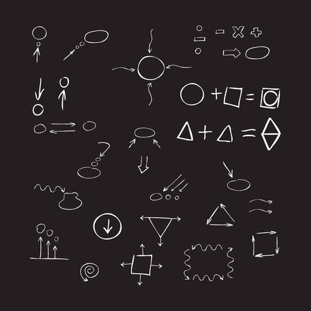 signos matematicos: Thin hand drawn arrows, talk bubble, geometric shapes, mathematical signs painted white pen on black background. Doodle, sketch. Vector set. Vectores