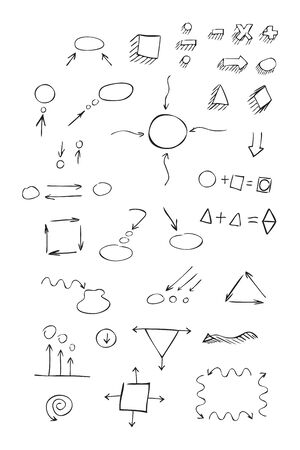 bubble pen: Thin hand drawn arrows, talk bubble, geometric shapes with shadow, mathematical signs painted black pen on white background. Doodle, sketch. Vector set. Illustration