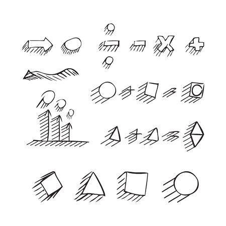 signos matematicos: Delgadas flechas dibujadas mano, hablar de burbuja, formas geométricas con sombra, signos matemáticos pintadas lápiz negro sobre fondo blanco. Bosquejo, de la. set vector.