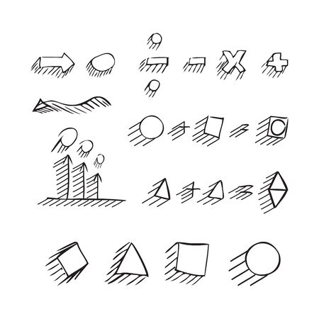 says: Thin hand drawn arrows, talk bubble, geometric shapes with shadow, mathematical signs painted black pen on white background. Doodle, sketch. Vector set. Illustration