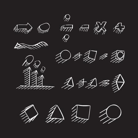 signos matematicos: flechas dibujadas a mano delgadas, formas geométricas con sombra, signos matemáticos pintan la pluma blanca sobre fondo negro. Bosquejo, de la. set vector. Vectores