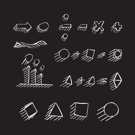 signos matematicos: Thin hand drawn arrows, geometric shapes with shadow, mathematical signs painted white pen on black background. Doodle, sketch. Vector set.