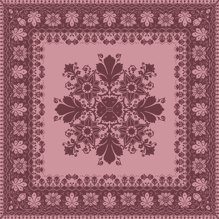 mauve: Vector abstract frame ethnic shawl floral pattern design for background or wallpaper. Colors trend mauve