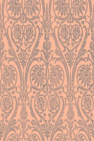 dashes: Hand drawn seamless striped damask background vector for invitations, greeting cards, web page, pattern fills, or textile. Coral and grey color Illustration