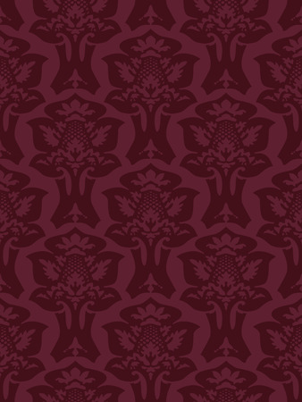 Vector colorful damask seamless floral pattern background. Color trend burgundy. Elegant luxury texture for wallpapers, backgrounds and page fill