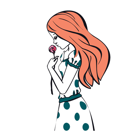 tenderly: Beautiful romantic girl holds a Rose, cute girl tenderly holds in hand of flower, girl with red hair, hand drawn illustration princess girl in polka dot dress vintage, Vector Cute beautiful fashionable girl, romantic girl graphic design isolated on white  Illustration