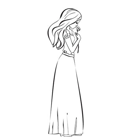 tenderly: Beautiful romantic girl holds a Rose, cute girl tenderly holds in hand of flower, hand drawn illustration princess girl vintage, Vector Cute beautiful fashionable girl, romantic girl graphic design isolated. Black and white colors