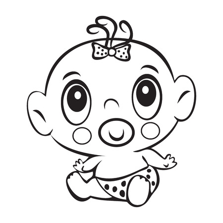 canvas print: Funny baby girl. Cute baby girl sitting in a diaper isolated for coloring book. Design for childrens books. T-shirt Graphics. Graphic design, canvas print Illustration