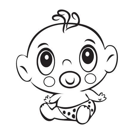 Divertido Del Bebé Niño Lindo Sentado En Un Pañal Aislado