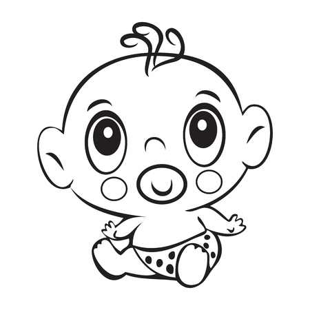baby sitting: Funny baby boy. Cute baby boy sitting in a diaper isolated for coloring book. Design for childrens books. T-shirt Graphics. Graphic design, canvas print