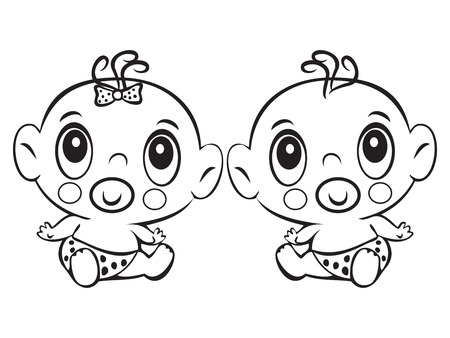 baby sitting: Two Funny baby sitting. Cute baby boy and girl sitting in a diaper isolated for coloring book. Design for childrens books.