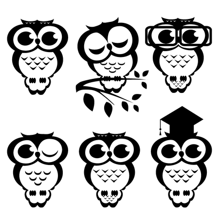 erudite: set of owls. Cartoon illustration Illustration