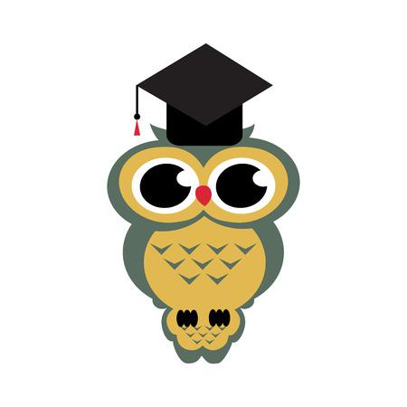 erudite: owl graduation on the isolated background. Cartoon illustration
