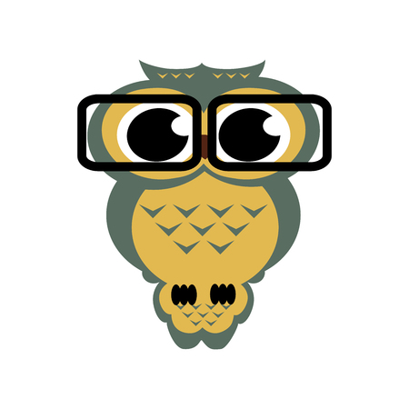 owl with glasses on the isolated background. Cartoon illustration.