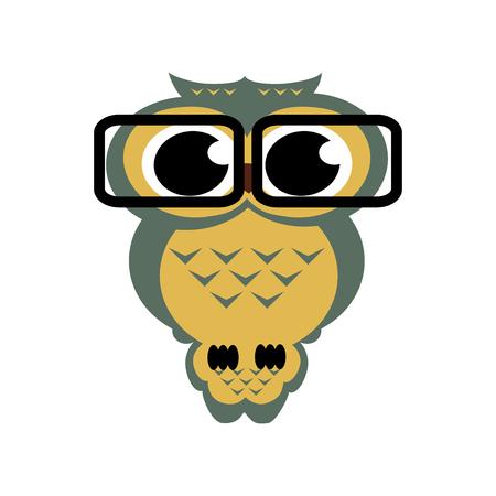 erudite: owl with glasses on the isolated background. Cartoon illustration.