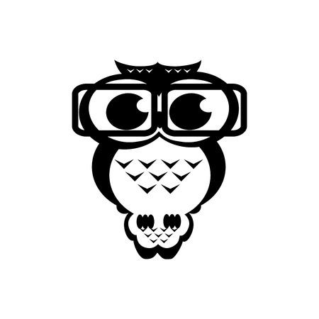 erudite: owl academic on the isolated background. Cartoon illustration. Black and white colors