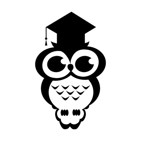 owl academic on the isolated background. Cartoon illustration. Black and white colors