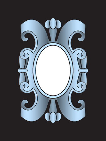 cartouche: Vector vintage border frame labels, design element page decorations. Silver cartouche Illustration