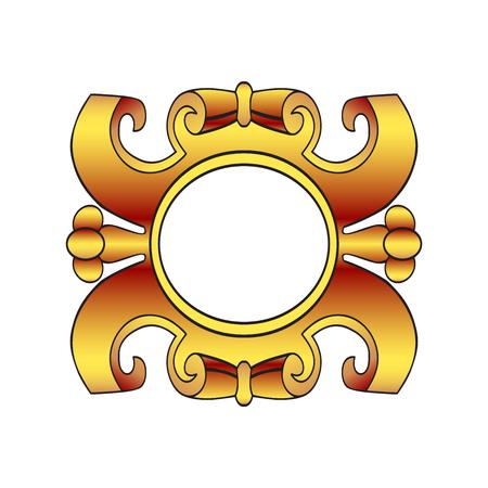cartouche: Vector vintage border frame labels, design element page decorations. Gold cartouche