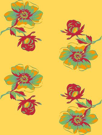 rosebud: Wallpaper seamless floral vintage grunge background. Branch with roses pattern. Colorful Vector illustration.