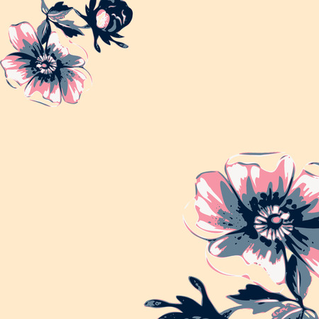 Vintage wallpaper frame rose flower pattern on beige background. Vector illustration Ilustração