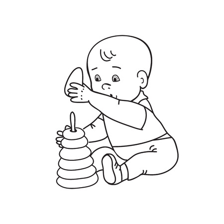 black baby boy: Little lovely baby boy playing with toys. Kid plays with pyramid. Drawing contour illustration. Black and white background
