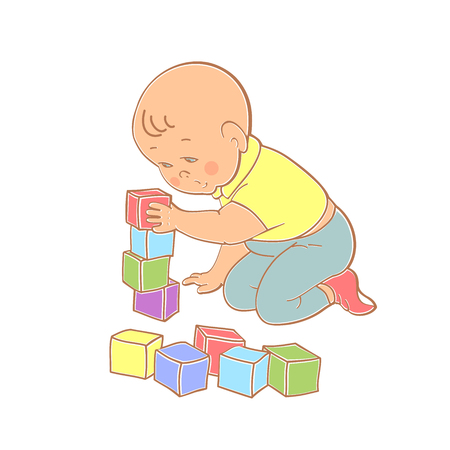 child care: Little lovely baby boy playing with toys. Kid builds house from cubes.