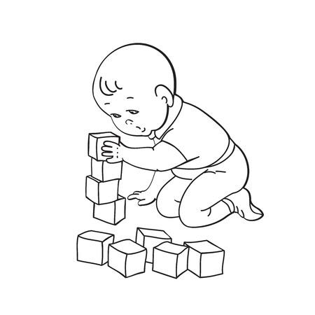 El Pequeño Bebé Precioso Jugando Con Juguetes. Niño Juega Con La ...