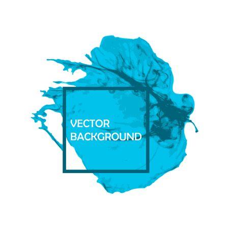 Blauwe Inkt kwast beroerte met ruwe randen op een witte achtergrond. Splash abstracte achtergrond, frame vector illustratie.