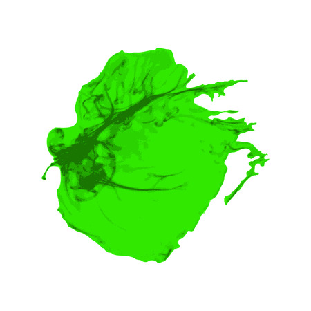 green ink: Green Ink brush paint stroke with rough edges on white background. Splash abstract background, frame vector illustration.