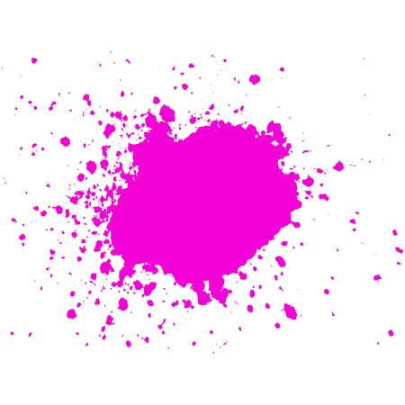 ink stain: Pink Ink paint blob with splatter on white background. Stain abstract background, frame vector illustration.