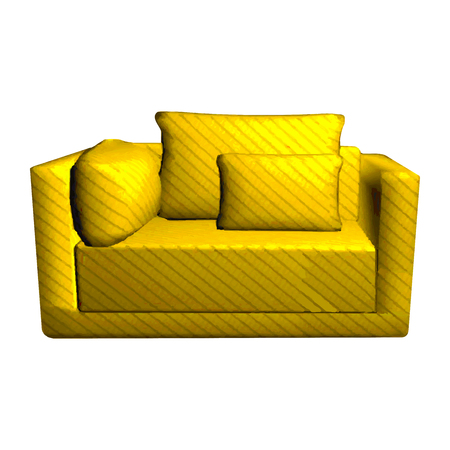 leather armchair: Vector leather yellow Sofa with pillows isolated on white background. 3d object golden armchair in room