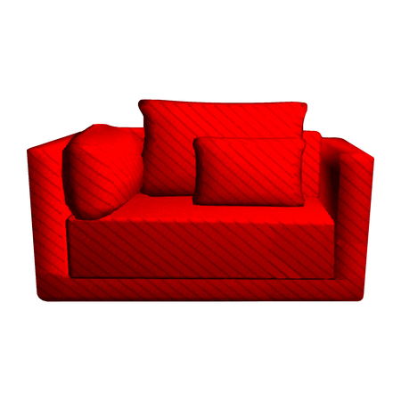 pillows: Vector leather red Sofa with pillows isolated on white background. 3d object armchair in room Illustration