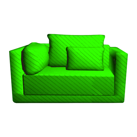 leather armchair: Vector leather green Sofa with pillows isolated on white background. 3d object armchair in room
