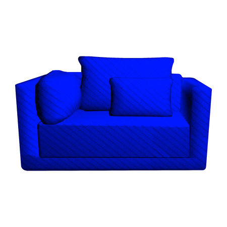 leather armchair: Vector leather blue Sofa with pillows isolated on white background. 3d object armchair in room Illustration