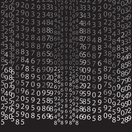 encoding: Binary code black and white background with digits on screen. Algorithm binary, data code, decryption and encoding,  vector illustration on black background