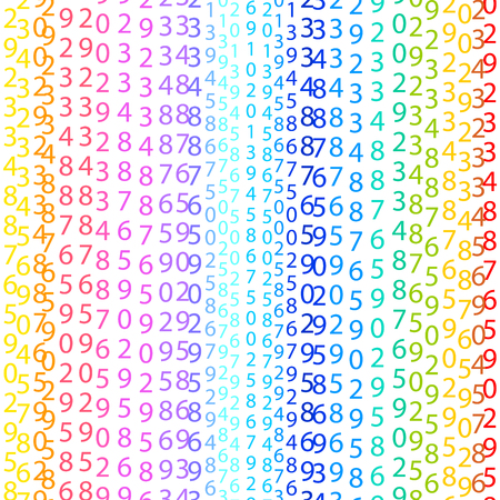 cryptogram: Binary code rainbow and white background with digits on screen. Algorithm binary, data code, decryption and encoding, colorful rainbow  vector illustration