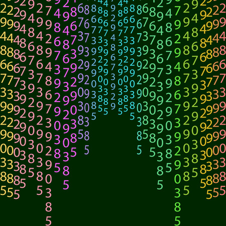 cryptogram: Binary code rainbow and black green background with digits on screen. Algorithm binary, data code, decryption and encoding, colorful rainbow  , vector illustration