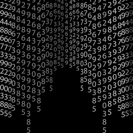cryptogram: Binary code black and white background with digits on screen. Algorithm binary, data code, decryption and encoding, row matrix, vector illustration on black background Illustration
