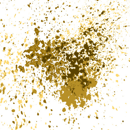 placer: Vector gold paint splash, splatter, and blob shiny on white background. Glowing spray stains abstract background, vector illustration.